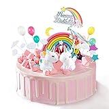 ZITFRI 26 Pezzi Decorazioni Torta Unicorno Cake Topper Compleanno Arcobaleno Palloncino Nuvole Stelle e Luna per Bambini Compleanno Festa