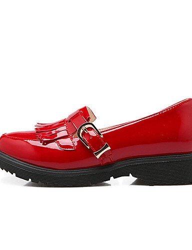 Chaussures Femme Shangyi Gyht - Mocassins - Loisirs / Formel / Décontracté - Plateau / Creepers / Bout Arrondi - Plateau - Similicuir -noir / Rouge Blanc