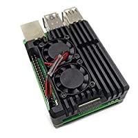 Sliveal Raspberry Pi 4+ Aluminum Case With Dual Cooling Fan Hex Wrench, Computer Cases, Built-in Heatsink, Radiation Rust Protection