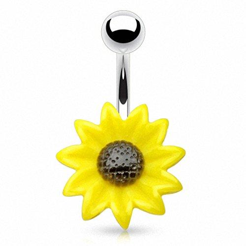 Piercingfaktor Bauchnabelpiercing aus Chirurgenstahl mit Kugel Banane Bauch Bauchnabel Piercing Sonnenblume Blume Silber Gelb