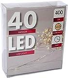 Led Draht Lichterkette Batterie warmweiß Timer Tropfen 10 20 40 Leds biegsam (40er)