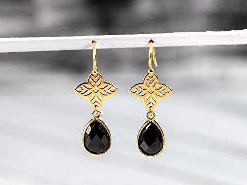 Schwarz-goldene Ohrringe, Onyx-Tropfen mit vergoldetem Stern 925 Sterling-Silber, das perfekte Geschenk