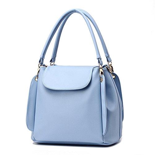 fanhappygo klassische zufällige PU Leder Handtasche Mode Umhängetasche Tasche Himmelblau