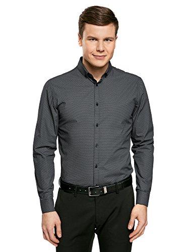oodji Ultra Uomo Camicia Slim Fit con Stampa Geometrica Fitta Grigio (7923G)