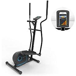 KLAR FIT Klarfit Myon Cross • Vélo elliptique • Volant d'inertie 12 kg • SilentBelt System • Noir