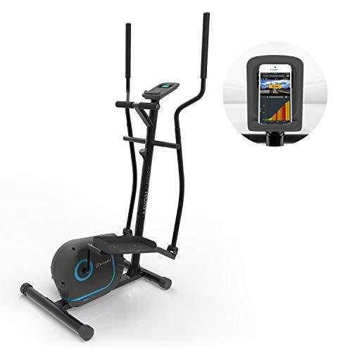 KLAR FIT Myon Cross Bicicleta elíptica • 8 Niveles de Resistencia • Volante de inercia de 12kg • Tecnología SilentBelt • Freno magnético • App Kinomap • Pulsómetro • Protección Suelos • Negro
