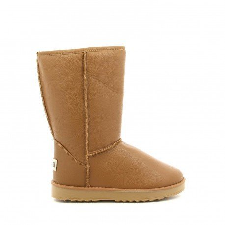 Ideal Shoes - Bottines fourrées hivernales mi-hautes en simili-cuir Aldous Camel