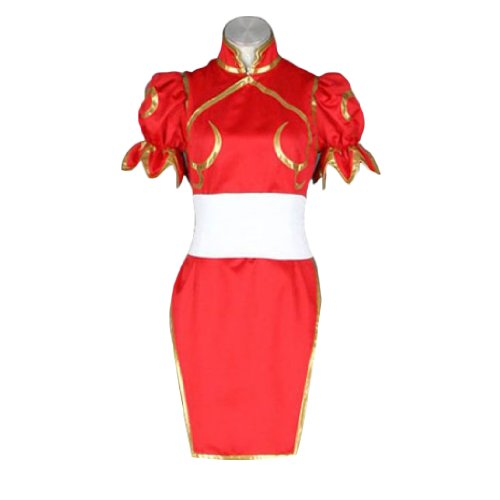 Dream2Reality Street Fighter II Cosplay Kostuem - Chun Li 4th Ver Red Medium (Street Fighter 4 Kostüm)