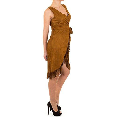 Damen Kleid Fransen Cocktailkleid Party Stretch Braun (Brown Kostüm Ms)