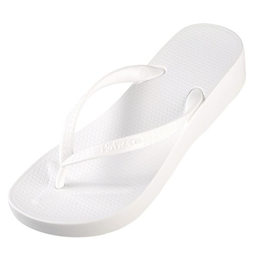 Hotmarzz Tongs Plateforme Sandales dete Femme Talon Haut Compensé Plage Flip Flops Blanc
