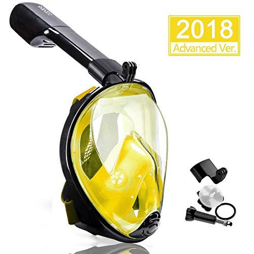 OCEVEN Panorama Vollmaske Schnorchelmaske Tauchmaske Vollgesichtsmaske mit 180° Sichtfeld, Dichtung aus Silikon Anti-Beschlag & Wasserdicht für Erwachsene und Kinder Anti-Fog Anti-Leak (Gelb, L/XL)