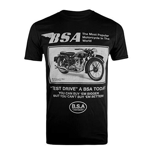943ea14e BSA Motocycles Herren T-Shirt Test Drive Schwarz (Black Blk),  Herstellergröße: