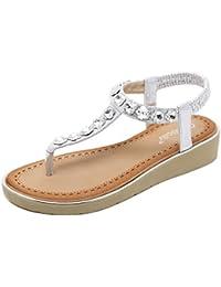 uBeauty Römische Sandalen Damen Bequeme Atmungsaktiv Zehentrenner Leder Flach Rutschfest Sexy und Stilvoll Schuhe 35 EU