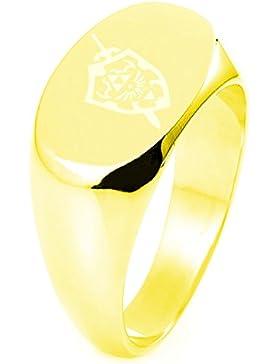 Sterling Silber Legend of Zelda Shield & Sword Graviert Oval Flache Oberseite Polierte Ring
