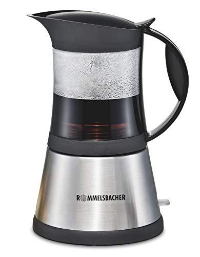 ROMMELSBACHER EKO 376/G ElPresso cristallo - elektrischer Espressokocher / Schott DURAN Glas / Mokkakocher mit Edelstahl-Filtereinsatz für 3 oder 6 Tassen / 365 W / Edelstahl, Glas 6 Espresso-tassen
