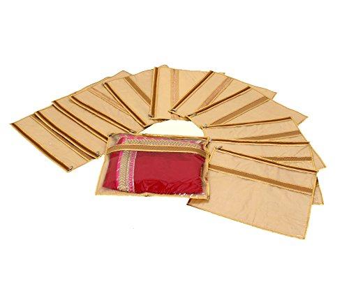 Kuber Industries™ Single Packing Designer Saree Cover Set of 12 Pcs (Jute...