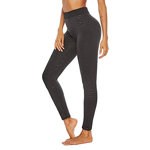 WOZOW Damen Leggings Gamaschen Solid Zebra Print Druck Pattern Sport Hose Yoga Stoffhose Stretch Sweathose Jogginghose Workout Mode Dünn Skinny Trousers (3XL,Balck - Zebra)