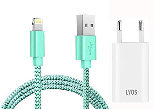 LYOS USB Textil 1 Meter Ladekabel mit Netzteil Adapter iOS 12 kompatibel für alle iPhones, iPads wie X, Xs, Xr, Max, 8, Plus, 7, 6s, 5, SE -