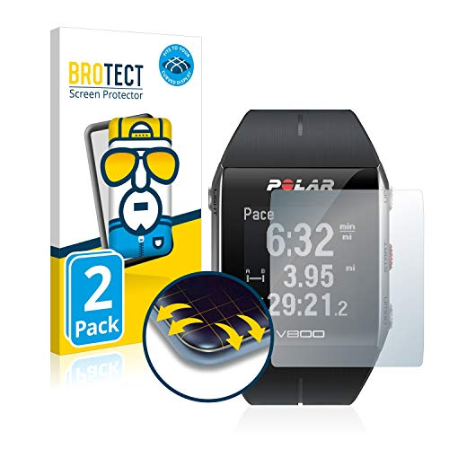 BROTECT Full-Cover Schutzfolie kompatibel mit Polar V800 (2 Stück) - Full-Screen Displayschutz-Folie, 3D Curved, Kristall-Klar