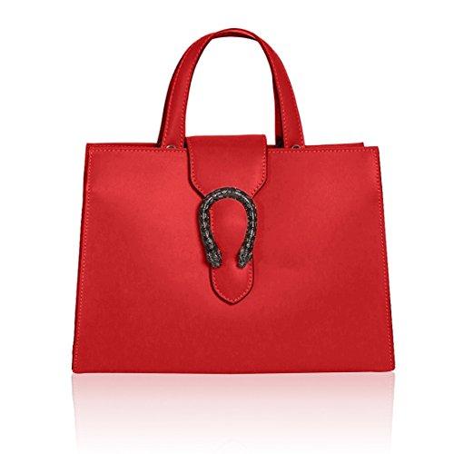 MELANIA Borsa a mano Tote con manici e accessorio chiusura e tracolla regolabile tessuto pelle liscia rosso