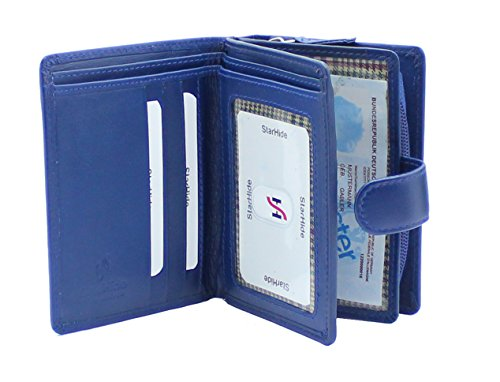 - 41RGJb0mwHL - Ladies Womens Designer Real Nappa Leather Wallet Purse With Side Secure Zip Coin Pocket & ID Window Gift Boxed By Starhide #5525 (BLUE)
