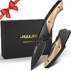 Jellas Couteau Pliant avec Lame en Acier Inoxydable 7Cr17 et Affûteuse et Pochette pour Ceinture, Couteau de Survie de Plein Air pour la Chasse ou le Camping, avec Manche en Bois, Ideal pour Offrir