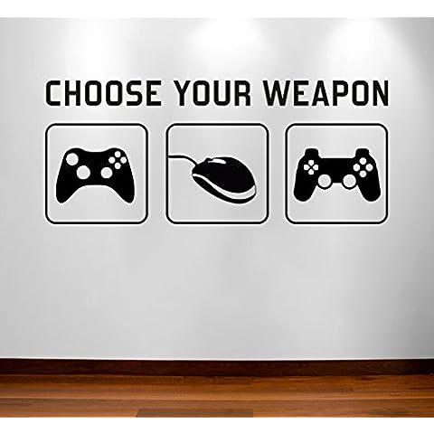 [de grado B] elegir su arma–Juego de vídeo juegos vinilo adhesivo decorativo para pared Póster Mural de–los niños Los niños adolescente adolescentes dormitorio, sala de Man Cave Ideas lienzo decoración para el hogar–segundos