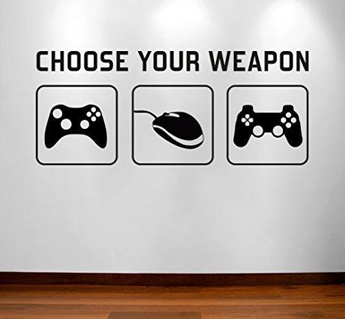 Preisvergleich Produktbild RaDecal CHOOSE YOUR WEAPON | Video Game Gaming Vinyl Decal Wall Sticker Mural - Kids Children Boys Teenager Teens Bedroom, Man Cave Room Art Ideas Canvas Home Decor (PC, XBOX, PLAYSTATION Game Controllers) by Radecal