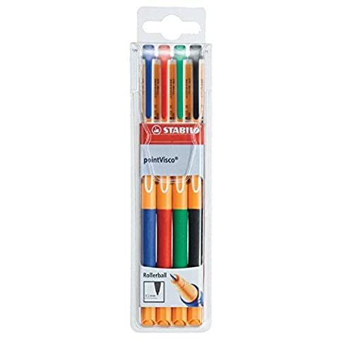 Tintenroller - STABILO point Visco - 4er Pack - blau, rot, grün, schwarz