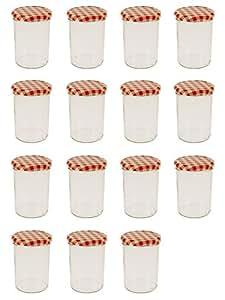 15 Gläser mit Fassungsvermögen 440 ml mit dazugehörigen Deckeln Rot-Weiß kariert.