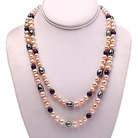 jyx 7–8mm naturale Rosa rotonda perla d' acqua dolce con 8mm rotondo intagliato ametista collana bigiotteria