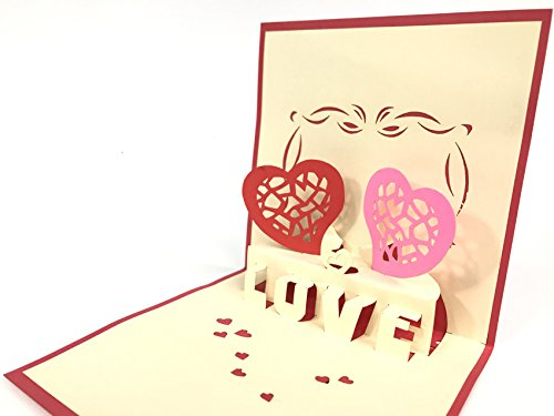 Love hearts pop up greeting card mercedes-benz car anniversary baby happy birthday easter mother' s day thank you valentine' s day wedding kirigami paper craft cartoline