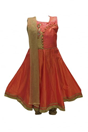 Childrens Billig Dress Fancy (GCS2803 Coral und Tan Girl's Churidar Anzug Indian Bollywood Fancy Dress 18 (approx 1-2)