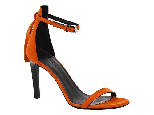 Sandales à talons Alexander McQueen en peau retournée corail - Code modèle: 405785 R2311 6524 Corail
