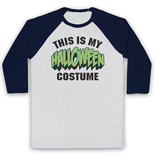 My Icon Art & Clothing This is My Costume Halloween 3/4 Hulse Retro Baseball T-Shirt, Weiß & Ultramarinblau, XS