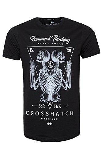 Crosshatch Herren Blusen T-Shirt, Einfarbig Bones - Black