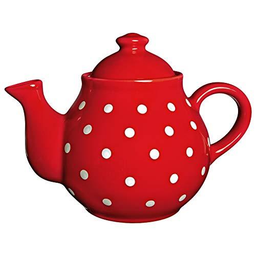 Ciudad a Cottage lunares grande 1,7L/60oz/4–6taza tetera de cerámica hecho a mano pintado a mano (rojo y blanco)