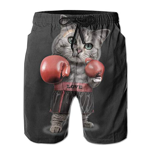 velty Boxing Cat Casual Sportswear Quick Dry Beach Shorts for Boys Summer XL ()