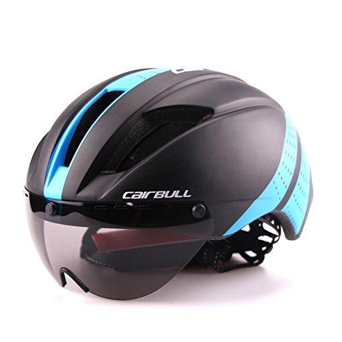 TKUI Hombre/Mujer Extraíble Fuerza magnética Gafas Visera Bicicleta de montaña Casco Seguridad y ventilación Ajustables para Adultos, Dark Blue