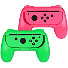 ADZ Grips 2 x Controller Grip Handles for Nintendo Switch Joy-Con Controller (Green/Pink)