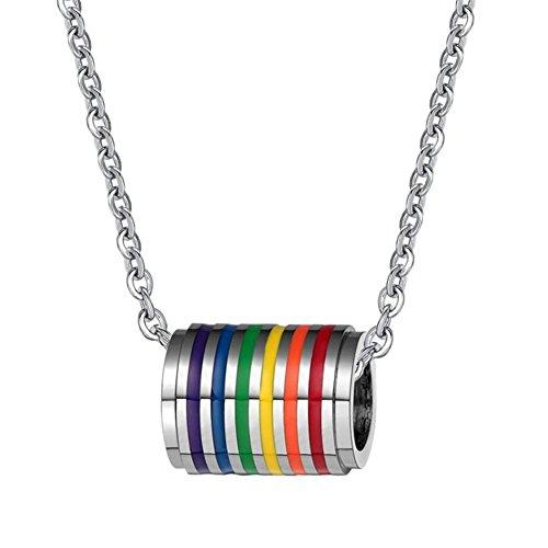 SINLEO Edelstahl Gay Pride Regenbogen-Anhänger Halskette LGBT Lesbische Flagge mit Kette Homosexuell