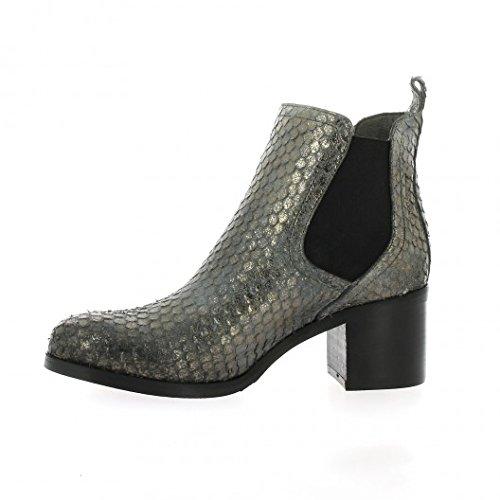 Pao Boots cuir python argent Argent