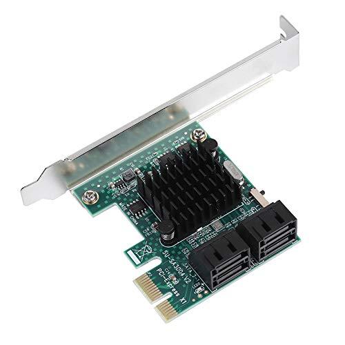 ASHATA PCI-Express (PCIe) Controllerkarte, Super Speed PCIE zu 4-Port SATA 3.0 Erweiterungskarte,6G SATA III PCI-Express Controller Adapter Karte für Windows XP/2003 / Vista / Win7/8/10