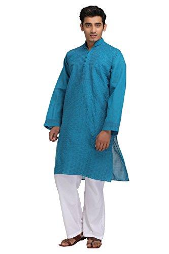 ADA-Lucknowi-Chikan-Needlecraft-Casual-Wear-Loose-Fit-Mens-Blue-Cotton-Kurta-A139962