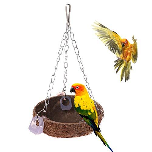 Girasool Parrot Toys Perchoir Coquille de Noix de Coco balançoire Nid Cage à Suspendre Naturel Oiseaux Perruche 10Cm-15cm (3.94in-5.91in)