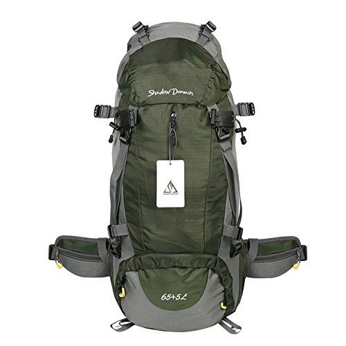 Wasserdichter Rucksack mit 45L+5L 60L 65L+5L Wanderrucksack Fassungsvermögen aus strapazierfähigem Nylon mit Regenschutzhülle. Großer Trekkingrucksack, perfekt zum Wandern, Bergsteigen, Reisen und für Sport und Camping. (65L+5L 04 Armeegrün, 65L + 5L)