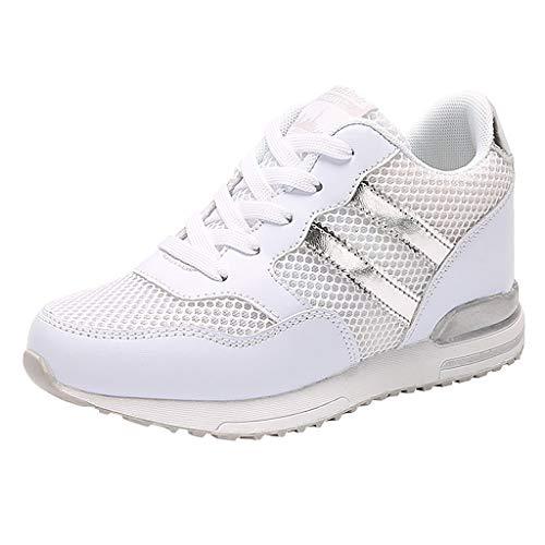 Jurich Donna Sneaker Rete Comodo Scarpe Scarpe Sportive da Ginnastica Leggero Scarpe da Corsa Palestra Piattaforma Running Sneaker Outdoor Respirabile (Bianca, 38 EU)