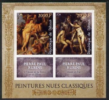 Djibouti 2014 Classical Nude Painters - Peter Paul Rubens imperf sheetlet two values plus two labels u/m ARTS NUDES RUBENS JandRStamps