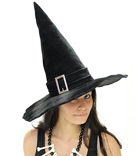 Foxxeo 35008 | Deluxe Hexenhut schwarz mit Schnalle samtig fest Halloween Hexen - La Hexe Halloween-fest