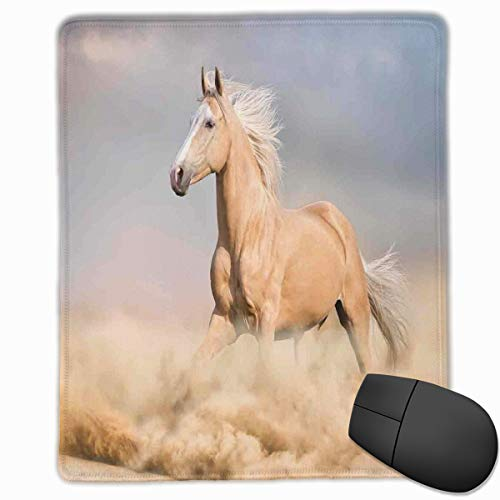 Mouse Mat Stitched Edges, Palomino Horse In Sand Desert With Long Blond Male Hair And Tail Power Wild Animal Theme Picture,Gaming Mouse Pad Non-Slip Rubber Base (Power-camo Male)